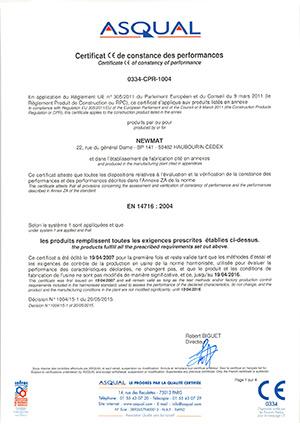 NEWMAT CE certificate