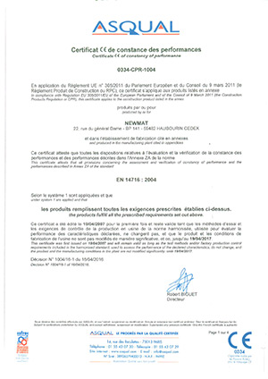 Certificate CE of performance constancy 2016/2017